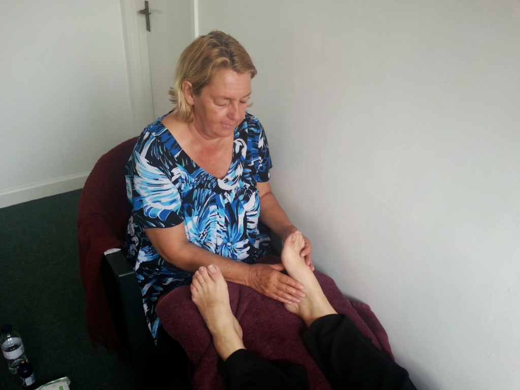 Linda treating feet